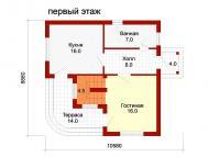 """Поэтажный план, проект дома """"ДОЛЬЧЕ-ПРИМА 2"""" 1 этаж"""