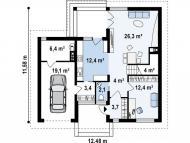 """Поэтажный план, проект дома """"САТУРН"""" 1 этаж"""