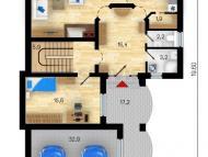 """Поэтажный план, проект дома """"ОКТАВИЯ  2"""", 1 этаж"""