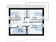 """Поэтажный план, проект дома """"ОНЕГА"""" 2 этаж"""