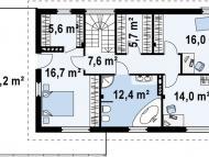 """Поэтажный план, проект дома  """"СОКОЛЬНИКИ"""" 2 этаж"""
