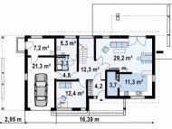 """Поэтажный план, проект дома  """"СОКОЛЬНИКИ"""" 1 этаж"""