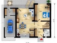 "Поэтажный план, проекта дома ""ВАРНА"" 1 этаж"