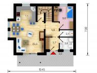 """Поэтажный план, проект дома  """"ВОЛНА"""" 1 этаж"""