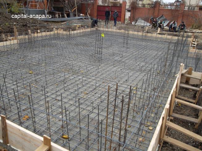 Армирование монолитной фундаментной плиты.