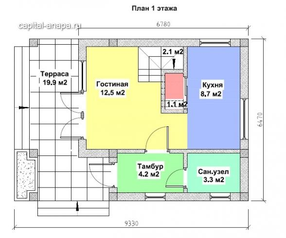 "Поэтажный план, проекта дома ""ОЛЬХА-2"" этаж 1"