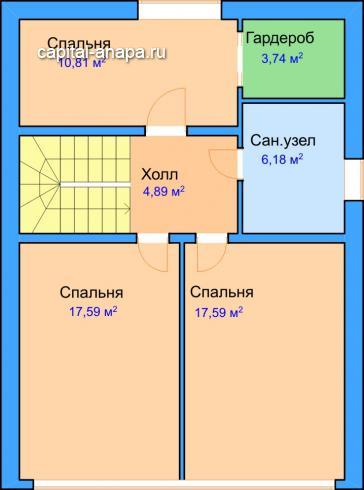 """Поэтажный план, проект дома """"АЛЬТАИР  2"""" 2 этаж"""