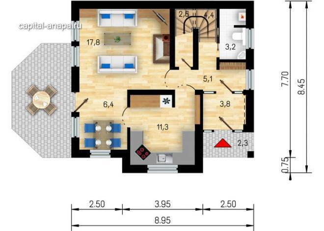 """Поэтажный план, проект дома """"АДОНИС"""" 1 этаж"""