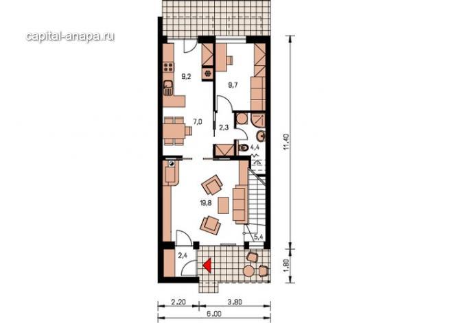 """Поэтажный план, проект дома """"АНГАРА"""" 1 этаж"""