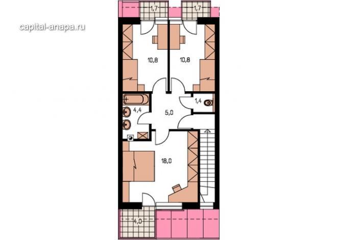 """Поэтажный план, проект дома """"АНГАРА"""" 2 этаж"""