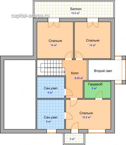"""Поэтажный план, проекта дома  """"ДИАМАНТ"""" 2 этаж"""