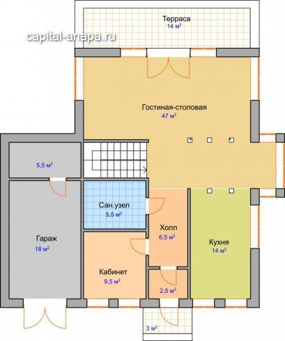 """Поэтажный план, проекта дома  """"ДИАМАНТ"""" 1 этаж"""