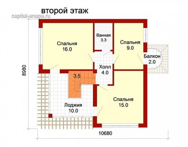 """Поэтажный план, проект дома """"ДОЛЬЧЕ-ПРИМА 2"""" 2 этаж"""