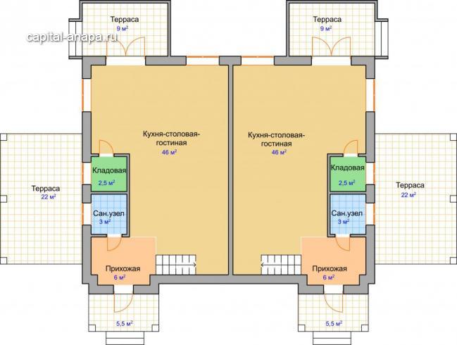 """Поэтажный план, проект дуплекса """"ДУЭТ"""" 1/2 1 этаж"""