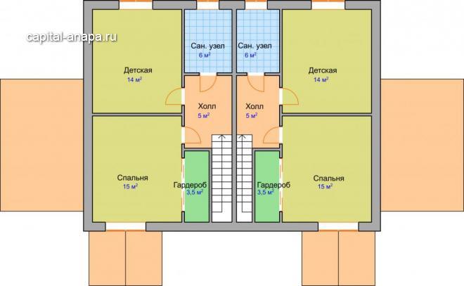 """Поэтажный план, проект дуплекса """"ДУЭТ"""" 1/2 2 этаж"""