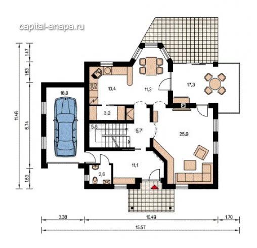 """Поэтажный план, дом по проекту """"ЕВРОПА"""" 1 этаж"""