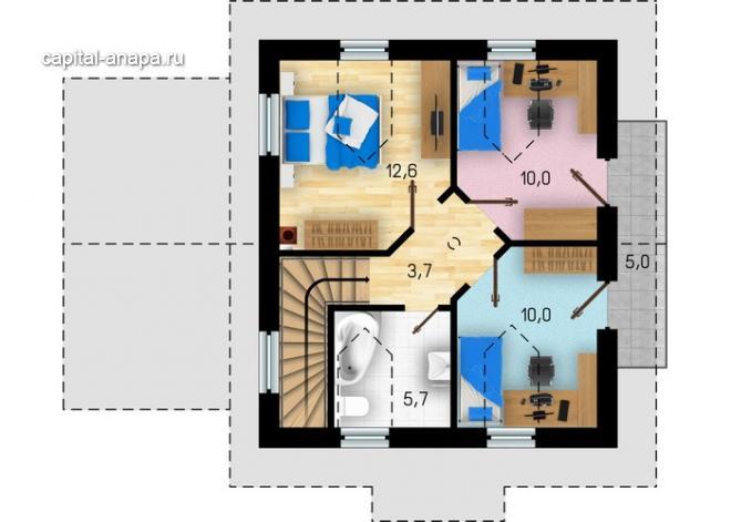 """Поэтажный план, проект дома """"ФИЕСТА"""" 2 этаж"""