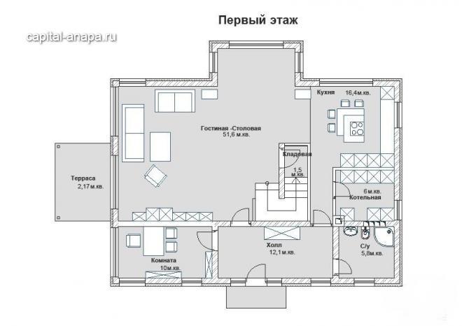 """Поэтажный план, проекта дома  """"ИЗМАЙЛОВСКИЙ"""" 1 этаж"""