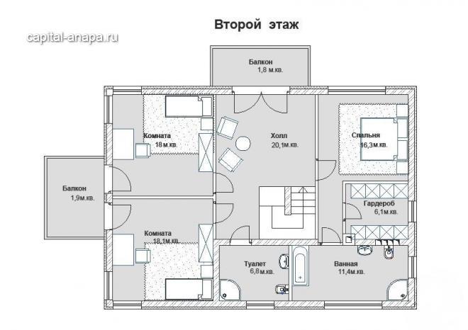 """Поэтажный план, проекта дома  """"ИЗМАЙЛОВСКИЙ"""" 2 этаж"""