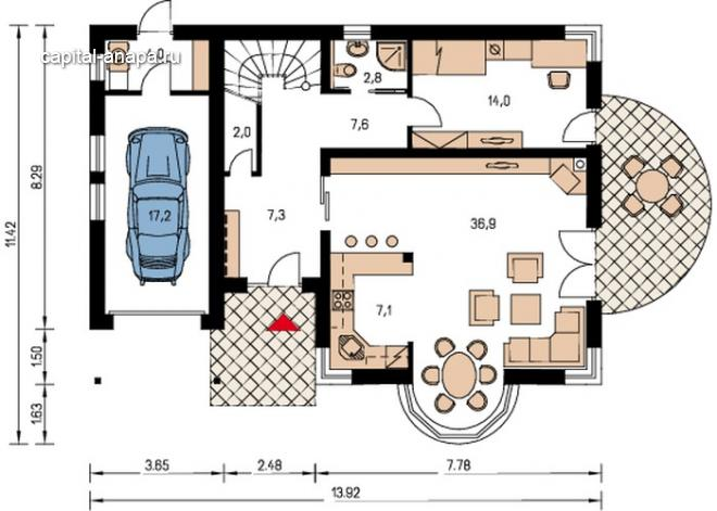 """Поэтажный план, проект дома """"КВИНТА - ГРАНД"""" 1 этаж"""