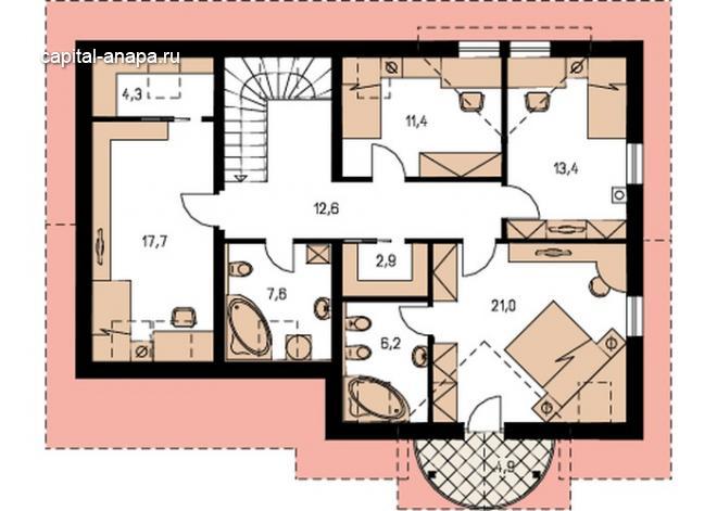 """Поэтажный план, проект дома """"КВИНТА - ГРАНД"""" 2 этаж"""