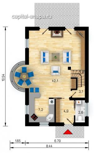 """Поэтажный план, проект дома """"КВИНТА-3"""" 1 этаж"""