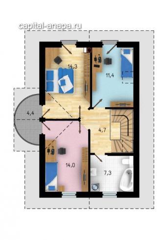"""Поэтажный план, проект дома """"КВИНТА-3"""" 2 этаж"""