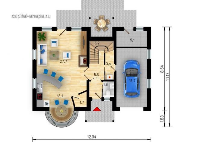"""Поэтажный план, проекта дома """"КВИНТА - 4"""" 1 этаж"""