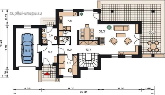 """Поэтажный план, проекта дома  """"ЛИОН"""" 1 этаж"""