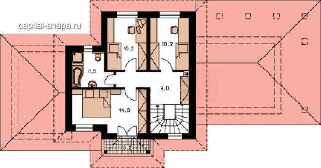 """Поэтажный план, проекта дома  """"ЛИОН"""" 2 этаж"""