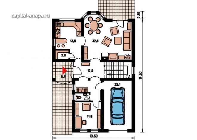 """Поэтажный план, проект дома """"МАКСВЕЛЛ"""" 1 этаж"""