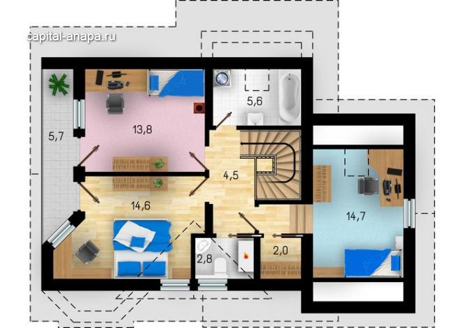 """Поэтажный план, проект дома """"МЕЧТА"""" 2 этаж"""
