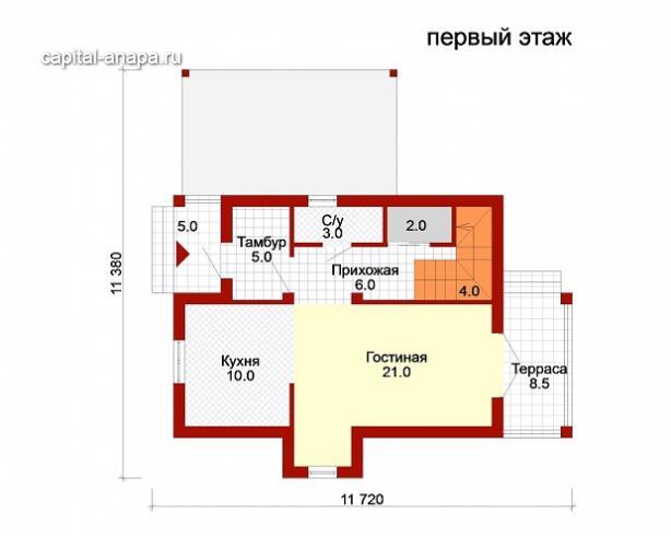 """Поэтажный план, проект дома """"НАДЕЖДА"""" 1 этаж"""