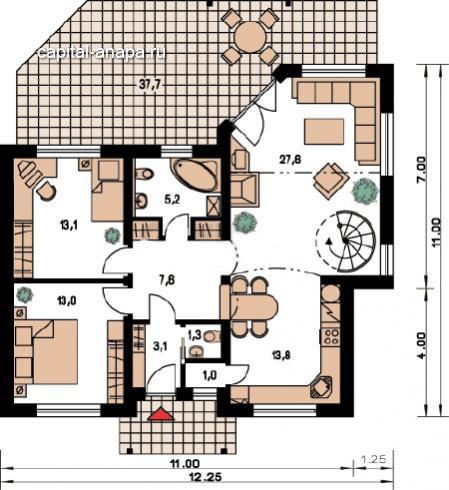"""Поэтажный план, проект дома """"ОЧАГ"""" 1 этаж"""