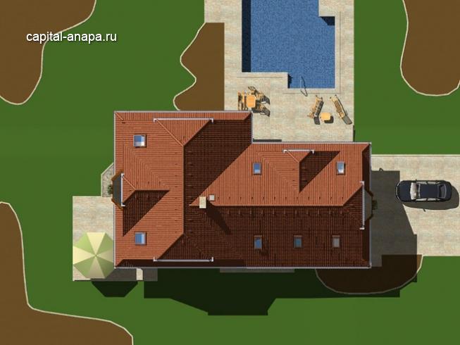 """Проект гостевого дома  """"ОКТАВИЯ""""  расположение на участке"""