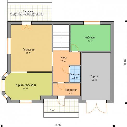 """Поэтажный план, проекта дома """"ОКТАВИЯ 1"""" 1 этаж"""