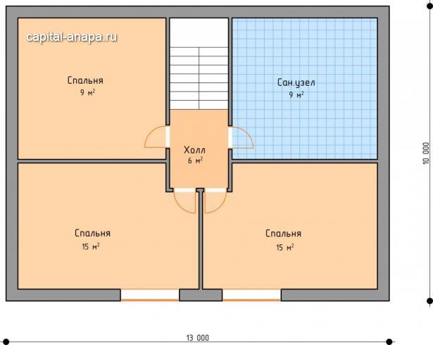 """Поэтажный план, проекта дома """"ОКТАВИЯ 1"""" 2 этаж"""