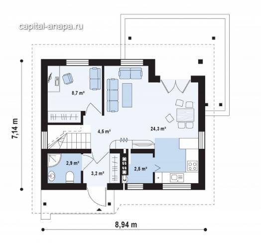 """Поэтажный план, проект дома """"ОНЕГА"""" 1 этаж"""