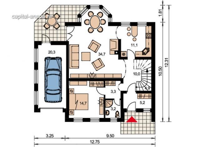 """Поэтажный план, проект дома """"ОРЛАНДО"""" 1 этаж"""