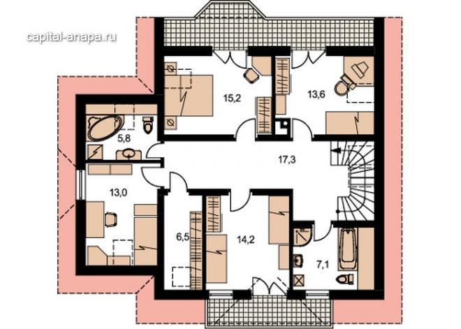 """Поэтажный план, проект дома """"ОРЛАНДО"""" 2 этаж"""