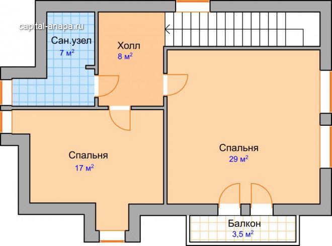 """Поэтажный план, жилого дома """"ПАЛЬМИРА"""" 2 этаж"""