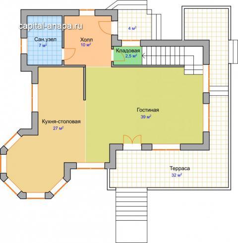 """Поэтажный план, жилого дома """"ПАЛЬМИРА"""" 1 этаж"""