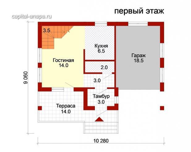 """Поэтажный план, проект дома """"ЮЖНЫЙ"""" 1 этаж"""