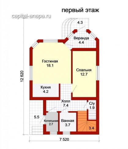 """Поэтажный план, проект дома """"ИРТЫШ -1"""" 1 этаж"""