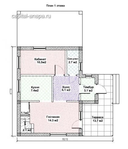 """Поэтажный план, проект дома """"БАЙКАЛ"""" 1 этаж"""