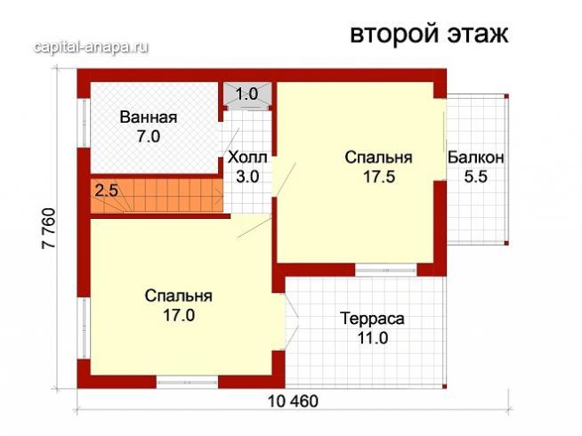 """Поэтажный план, проект дома """"ВЕСНА-1"""" 1 этаж"""