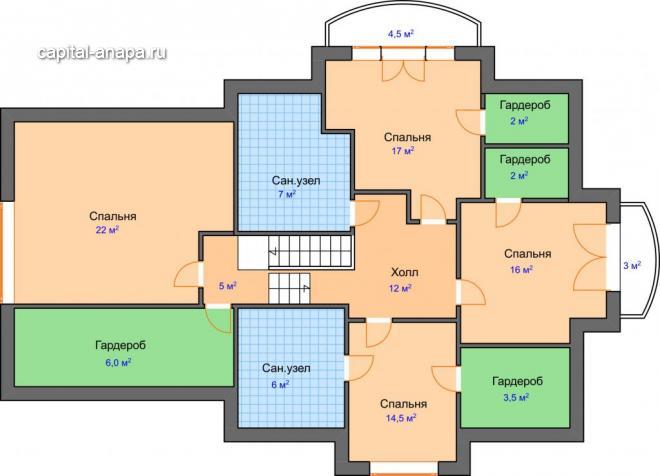"""Поэтажный план, проект дома """"РЕСПЕКТ"""" 2 этаж"""