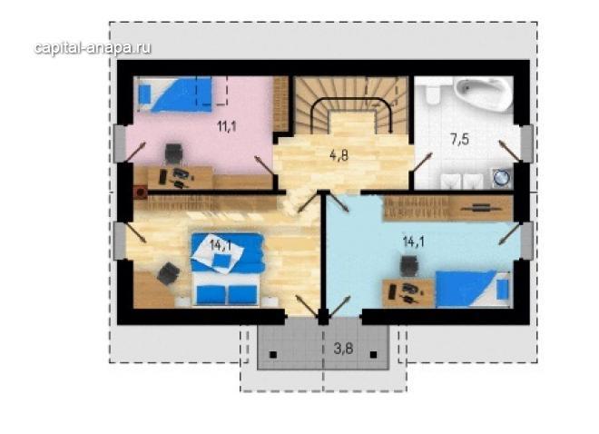 """Поэтажный план, проект дома """"РУБИН"""" 1 этаж"""