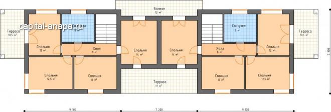 """Поэтажный план, проект дуплекса """"САТУРН"""" 2 этаж"""