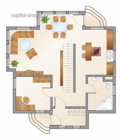 """Поэтажный план, проект дома """"СОЛНЕЧНЫЙ"""" 2 этаж"""